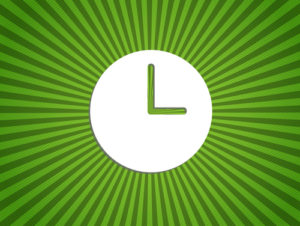 Clock showing 3 o'clock on a green background-EPS10